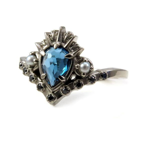 Sea Witch Engagement Ring - Ursula - Rose Cut London Blue Topaz with Seed Pearls and Black Diamonds