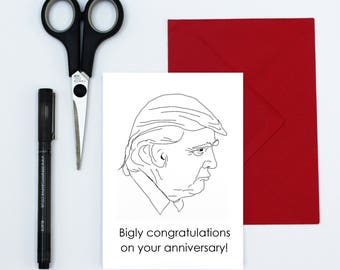 wedding anniversary card - funny anniversary card - card for couples - Donald Trump card - card for parents - political card - friends card