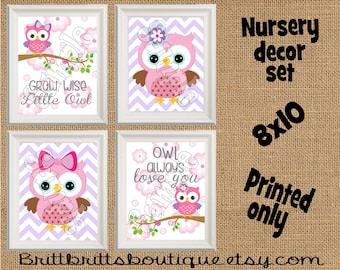 girl owl nursery wall art owl nursery wall decor Baby girl nursery decorations Nursery Decor Kids Wall Art owl Nursery artwork prints