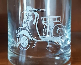 Vespa Scooter Crystal Glass 280ml Whisky Tumbler