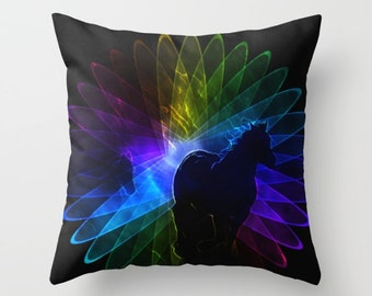 Horse Pillow, Equine Pillow, Animal Pillow, Fantasy Pillow, Black Pillow, Rainbow Pillow, Spirograph Pillow, Throw Pillow Cover, Toss Pillow