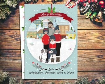 Custom Portrait Christmas Card- Personalized Christmas Card- Portrait card- people cards- ornament card- holiday card- unique holiday card-