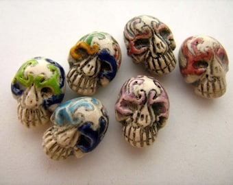20 Tiny Masked Skull Beads