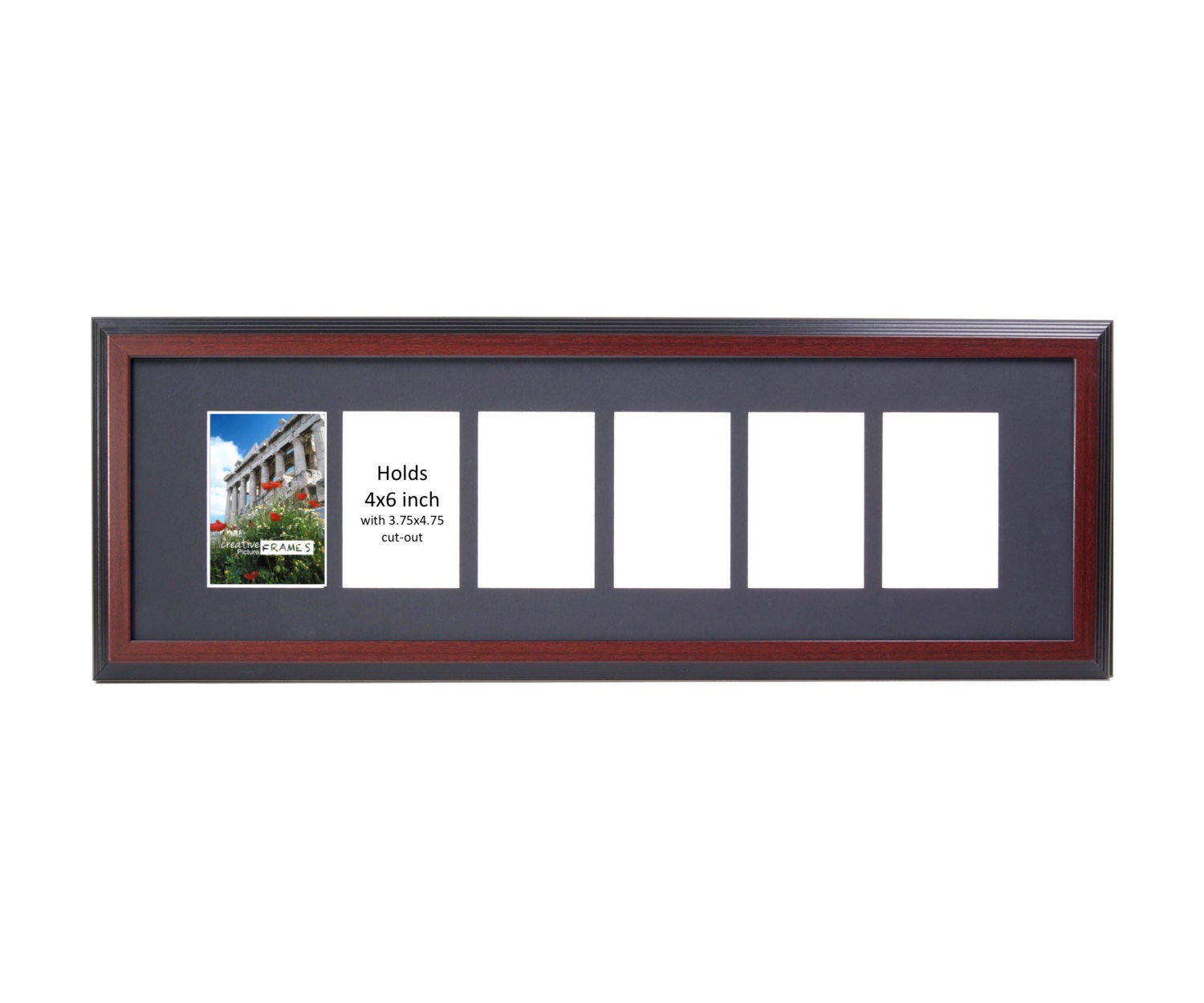 4x6 Multiple 2 3 4 5 6 7 8 9 10 Opening Mahogany Picture Frame with ...