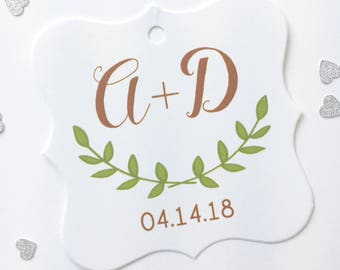 Initials with Laurel Wedding Favor Hang Tags, Laurel Wedding Favor Tags, Laurel Favor Tags, Colored Laurel  (FS-105-2)