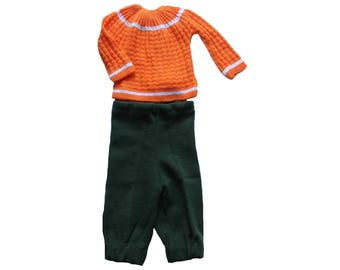 FRENCH VINTAGE 70's / baby knitted outfit / sweater and pants / orange and kakhi green acrylic knit / new old stock / size 3 months