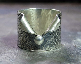Hammered Sterling Silver Wide Band Ring - Pebble Road