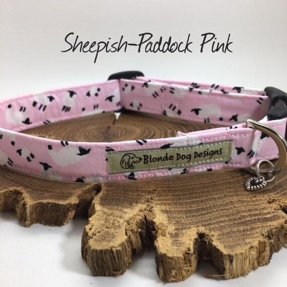 Cute Dog Collar, or, Cute Dog Lead, Sheepish Paddock Pink, Pink Dog Collar, Pink Dog Lead, Luxury Dog Collar.