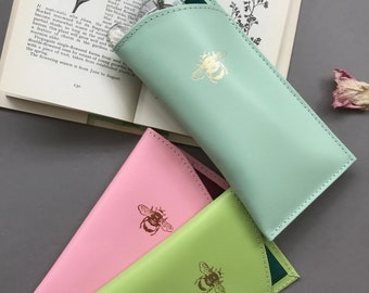 Silk lined Leather 'Bee' Glasses Case
