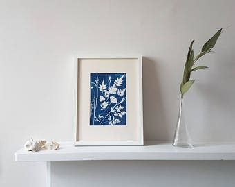 Wall Leaf & Art Flower Print, Handmade Botanical Cyanotype Wall Print, Jasmin and Ginko Leaves