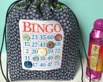 Bingo Bag - Blue Floral Drawstring Bag - Knitting Project Bag - Reusable Lunch Bag - Bingo Gift - Bingo Dauber Bag - Makeup Bag
