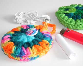 Headphones case, Puff Pocket, Purse pocket, Stash bag, Rainbow, Teal, Fidget spinner case
