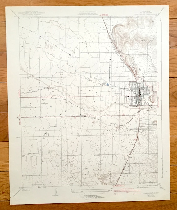 Antique Porterville California 1929 US Geological Survey