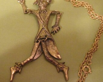 Necklace /Scarecrow With Swinging Arms & Legs/ Figural/Goldtone w/ Chain/ Pendant Necklace/ Wizard of Oz/ Fall/ Dancing Scarecrow/ Vintage