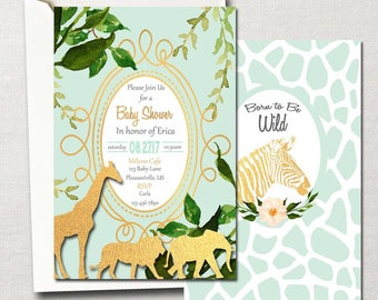 Born to be Wild~ Gold Glam Safari Jungle ~ DIY Printable Baby Shower Set ~ Gender Neutral