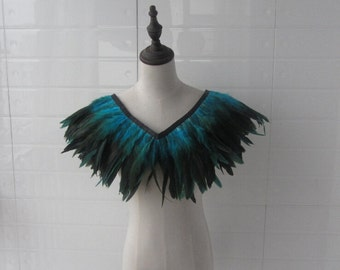 """T 28"""" Burlesque Turquoise  rooster coque feather Collar Shrug Cape"""