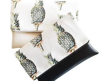 Fold over clutch, Native Pineapple Clutch, faux leather clutch, vegan leather clutch, pineapple bag, handbag, summer clutch,
