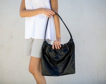 Leather Hobo Bag, Medium Leather Bag, Women Every Day Tote Bag, Shiny Black  Leather Purse, Leather Shoulder Bag