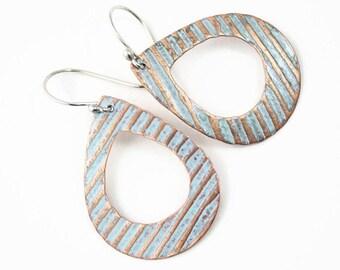 Copper Open Teardrop Earrings, Textured Copper, Light Blue, Handmade Earrings
