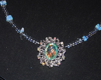 Beautiful Romantic Necklace - Real Opals - crystals that sparkle like diamonds - Wedding -Magical - October April birthstone