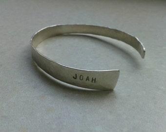 personalized solid silver open bracelet