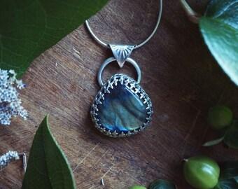 Teardrop Labradorite Sterling Silver Necklace - Crystal Necklace - Artisan Metalsmith