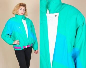 Vintage 80s Obermeyer Puffy Jacket - Womens Large // Color Block Winter Ski Coat