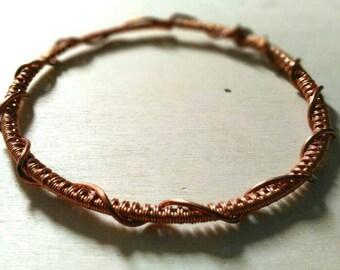 Copper wire bracelet for woman. Romantic cuff. Rigid bracelet