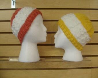 Knit owl hats persimmon-orange, sunshine yellow