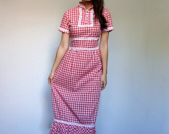 Red Plaid Dress Vintage 70s Checkered Lace Picnic Plaid Long Sundress Short Sleeve Summer Dress - Extra Small to Small XS S
