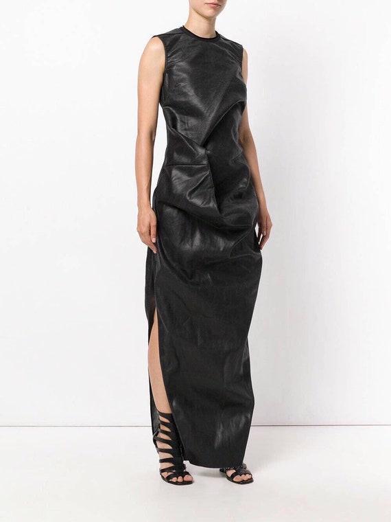 Black Elipse constructed design fastening zip dress length Long Back dress Crew dress maxi dress Ruched Maxi neck Expertly Feminine FawCgqF