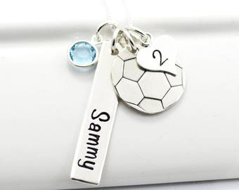 Soccer Mom Player Necklace Personalized with Player's Name Birthstone and Number