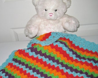 READY TO SHIP Rainbow Crochet Baby Blanket, Baby Shower Gift, Crochet Baby Blanket, Travel Blanket, Stroller-Car Carrier Baby Shower Gift