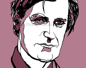 Handmade portrait of British poet Ted Hughes - Plath - Yorkshire - Writer - high quality giclee print on beautiful paper
