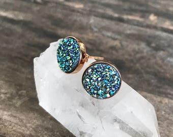 Druzy Earrings, Mermaid Jewelry, Mermaid Earrings, Druzy Stud Earrings, Druzy Studs, Rose Gold Earrings, Druzy Jewelry, Bridesmaid Jewelry