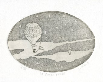 """Original etching """"Lucky star"""", numbered and signed by MinibrandAtelier."""