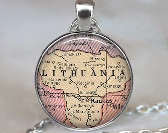 Lithuania map necklace, Lithuania map pendant Lithuania necklace Lithuania pendant map jewelry key chain key ring key fob keychain