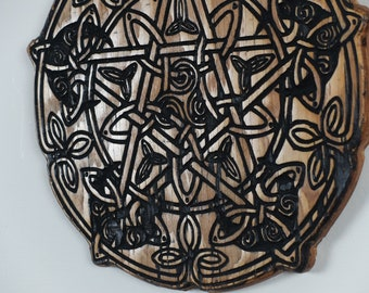 Celtic Pentacle with Moons Wood Carving - Altar Top - Pagan