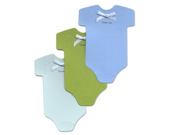 New Baby Boy Thank-You Cards with Bows - Baby Blue and Green Thank-You Notes - Cute Cards