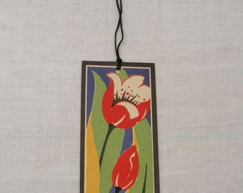 Vintage Art Deco Tulip Bridge Tally - Black Tassel
