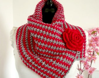 KNITTING COWL PATTERN two colors cowl scarf  Charly cowl with Crochet Flower Brooch Pin  Scarf Cowl pdf pattern Instant Download Tutorial