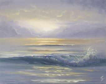 Calming Waters - Small Purple Ocean Waves Art