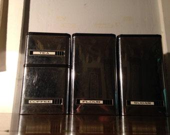 vintage chrome kitchen canister set by kromex