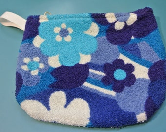 Handmade retro zipper pouch of vintage 1960s unused turqouise/ blue/ white cotton terry fabric for many kind of small things