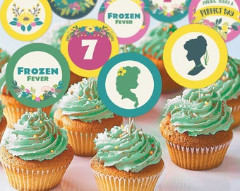"""Frozen Fever Elsa and Anna Birthday 2"""" Cupcake Toppers 