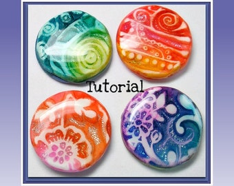 Polymer Clay Tutorial:  Faux Dichroic Pendants- polymer clay Cabochon tutorial - Ink and Foil Tutorial- Beginner Tutorial- How to
