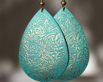 For SARAH Turquoise Earrings Boho Earrings Dangle Drop Earrings Patina Earrings Boho jewelry Bohemian earrings Light Bohemian Jewelry