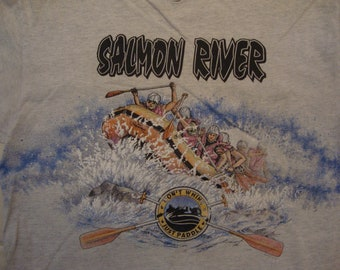 Vintage 90's Salmon River Don't Whine Just Paddle Souvenir Gray T Shirt Size L