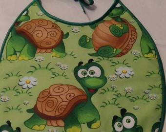 Turtle print fabric bib