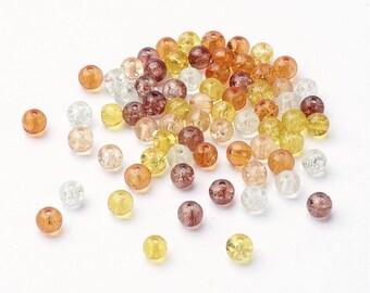 Perles ambres en verre craquelé - Ensemble de 100 perles de couleurs variées de 6mm